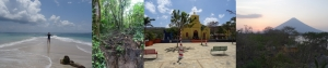 von li. nach re.: Bocas del Toro und Ich (Panama); Spaziergang durch den Dschungel am Fuße des Vulkans Arenal (Costa Rica); San Juan del Sur (Nicaragua); Insel Ometepe (Nicaragua)