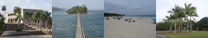 von li. nach re.: Santo Domingo-Altstadt; Samana; Insel Culebra; Botanischer Garten in San Juan