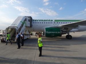 Ankunft mit dem Flugzeug in Erfurt
