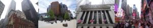 von li. nach re.: Boston Innenstadt; MIT; New Yorker Börse; Time Square in New York