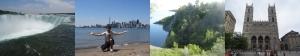 von li. nach re.: Niagara Fälle; Toronto und Ich; Klippen bei Toronto; Notre Dame in Montreal